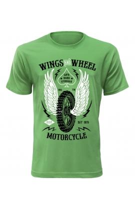Pánské motorkářské tričko Wings and Wheel