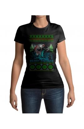 Dámské vánoční tričko pro rybářky