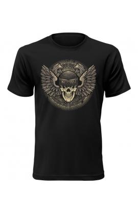 Pánské tričko s okřídlenou lebkou