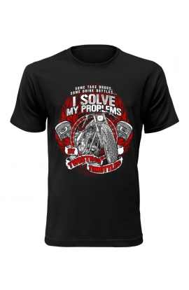 Pánské motorkářské tričko I Solve My Problems